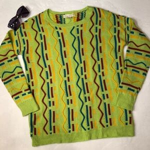 UO Staring At Stars Lime Vintage Style Geo Sweater